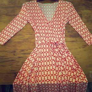 Orange/cream design 3/4 sleeve midi dress w tie